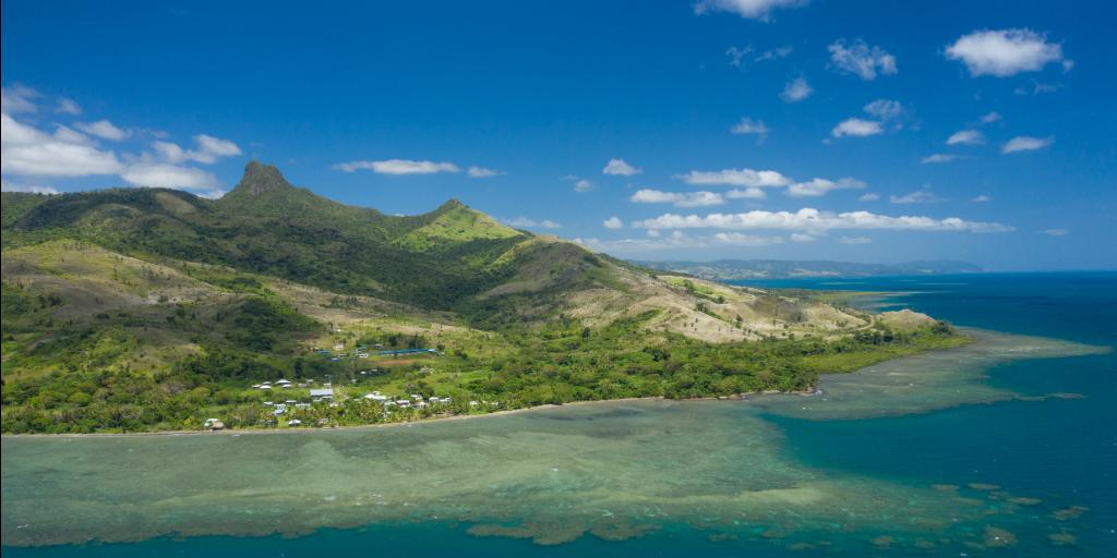 An aerial view of Dawasamu, Fiji