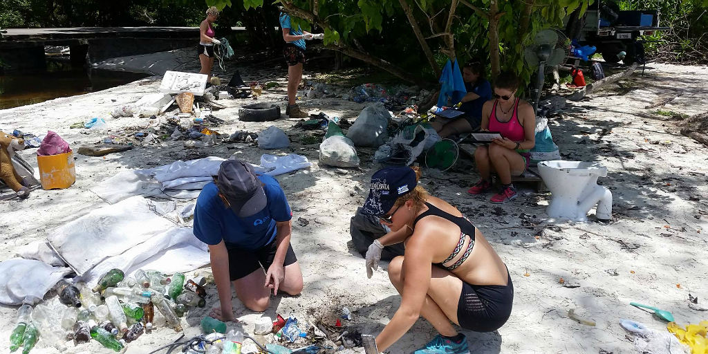Volunteers separating waste items after a beach cleanup.