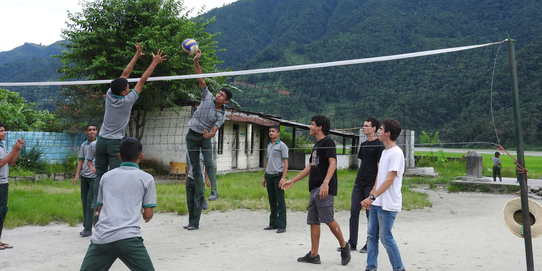 Health volunteers identified issues around upper body strength in Pokhara, Nepal. Volleyball, and other sports were introduced as part of efforts to reach UN SDG 3: Good Health and Wellbeing.