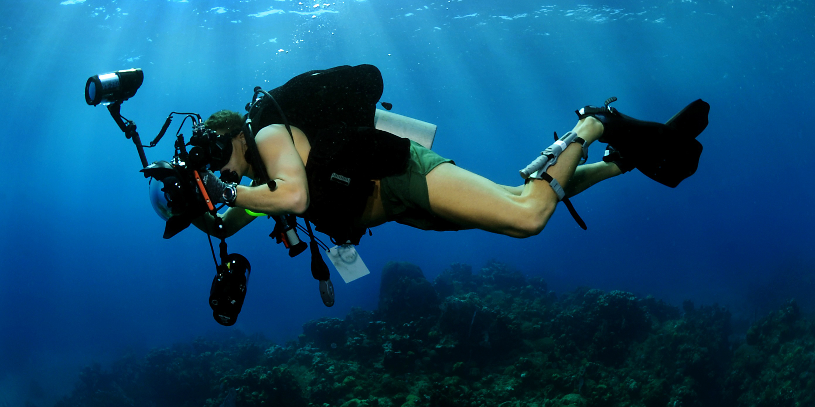 A PADI pro works as an underwater photographer.