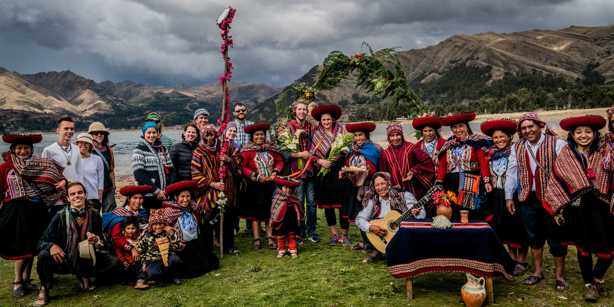 While taking part in gap year travel, GVI participants in Cusco take part in a traditional wedding.