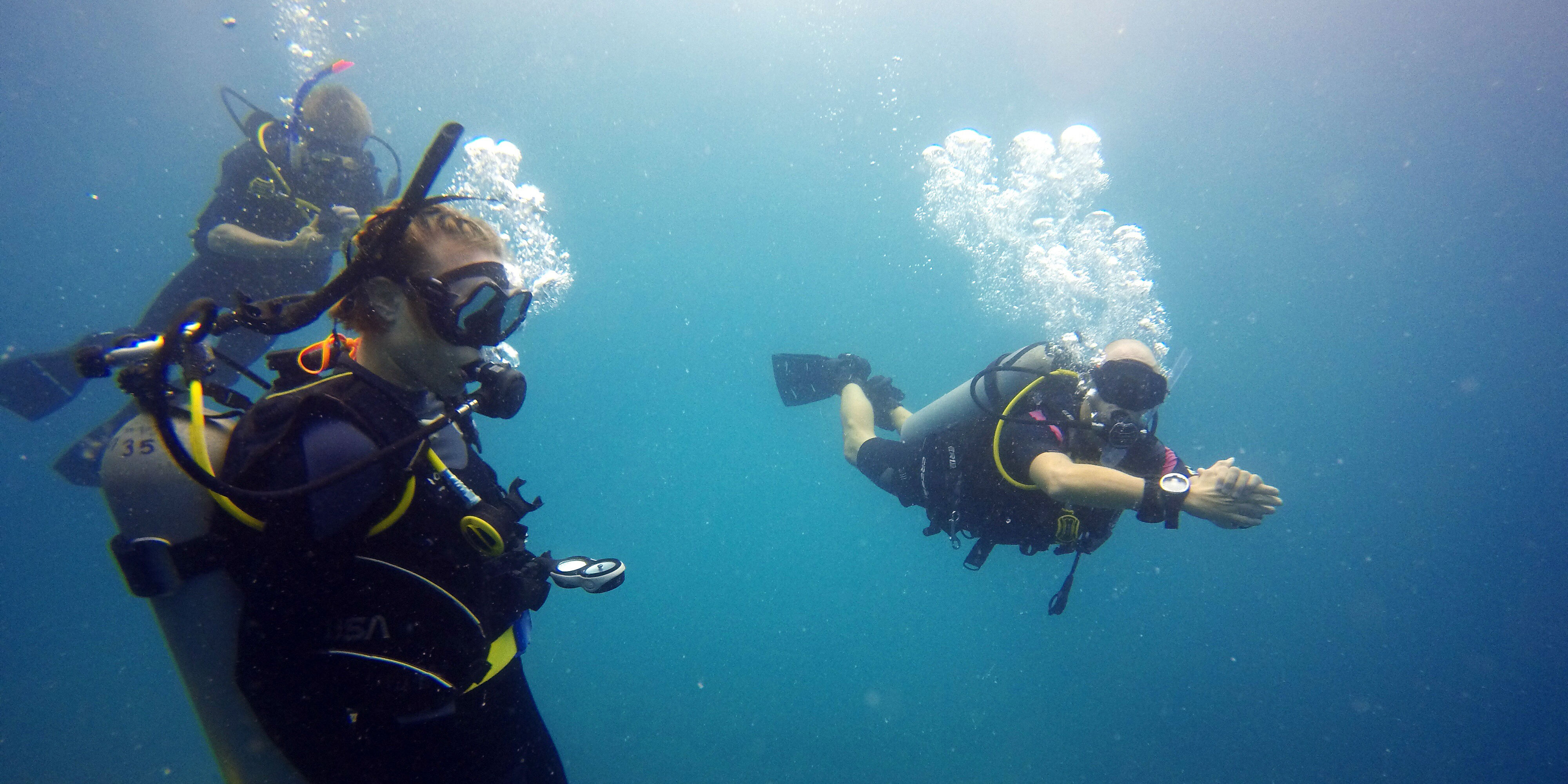 GVI participants work on upping their PADI certification levels by clocking open water dives.