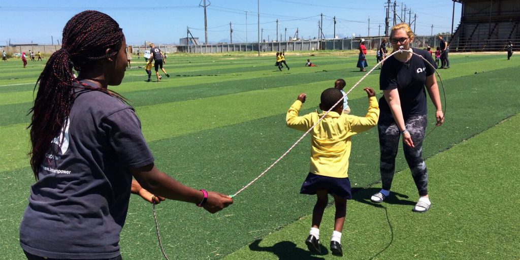 Volunteering on childrens sports programs in South Africa is fun for the children and volunteers