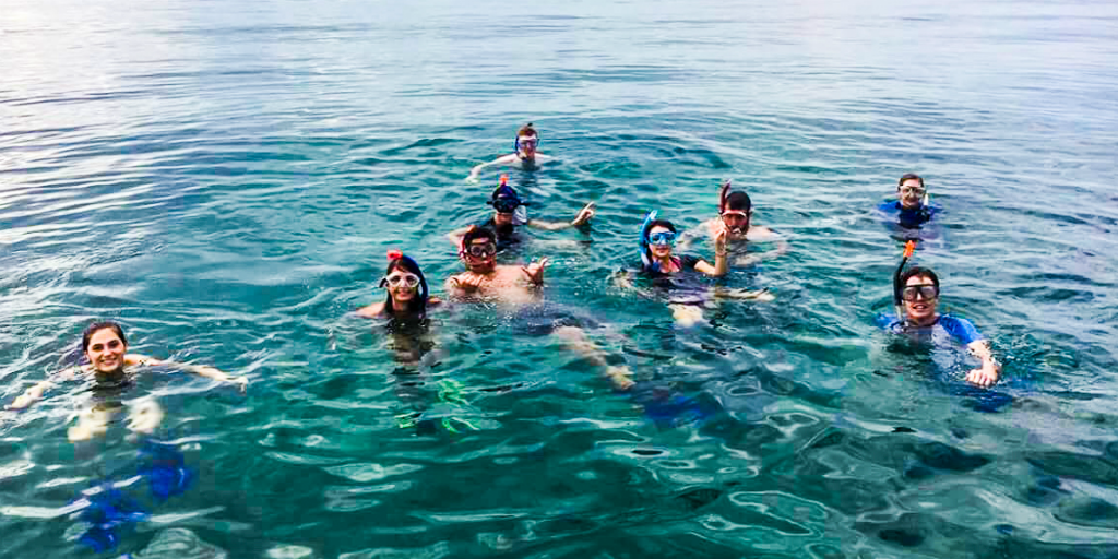 Volunteers snorkeling during their free time in the Phang Nga province of Thailand